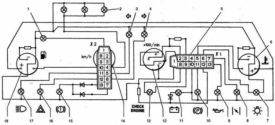 Схема соединений панели