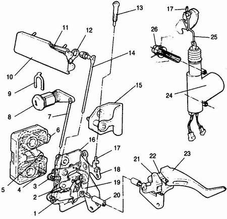 ...1 - рычаг наружного привода; 2 - промежуточный рычаг; 3, 18 - рычаги выключения замка; 4 - палец привода замка; 5...