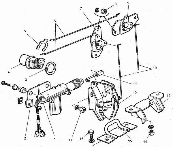 Замок двери багажника ВАЗ 2111, ВАЗ 2112 1 - моторедуктор электропривода замка; 2 - кронштейн моторедуктора; 3...