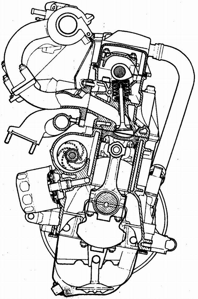 поперечный разрез двигателя ваз 2111