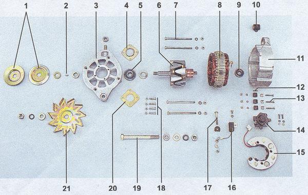 Схема электрооборудования автомобиля ваз 2107(vaz 2107).  1 - боковые указатели поворота;; 2 - блок-фары...