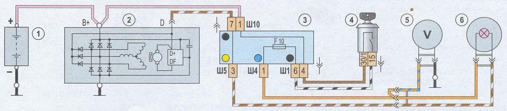 схема электрических соединений генератора 9412.3701 - автомобиль ваз 2107