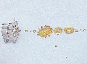 крыльчатка вентилятора - сегментная шпонка - ограничительные шайбы
