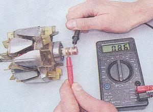проверка обмотки возбуждения ротора генератора