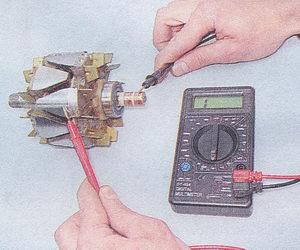проверка обмотки возбуждения генератора на отсутствие замыкания на «массу»