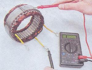 проверка обмотки статора генератора на отсутствие замыкания на «массу»