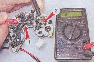 (1) диодный мост генератора - (2) диод генератора