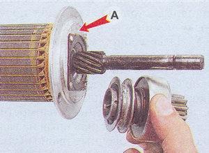 ограничительное кольцо, обгонная муфта - (А) перегородка корпуса