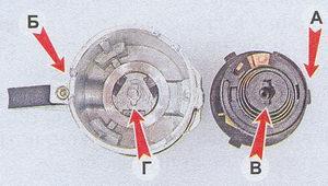 детали контактной группы замка зажигания ваз 2107