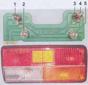 расположение ламп в секциях заднего фонаря автомобиля ваз 2107
