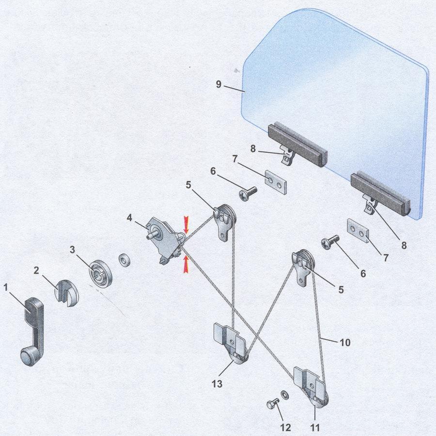 Устройство стеклоподъемника передней двери ваз 2107 1 - ручка стеклоподъемника; 2 - облицовка с фиксатором; 3...