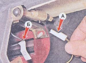 (А) клемма освещения вещевого ящика - (Б) «массовый» провод