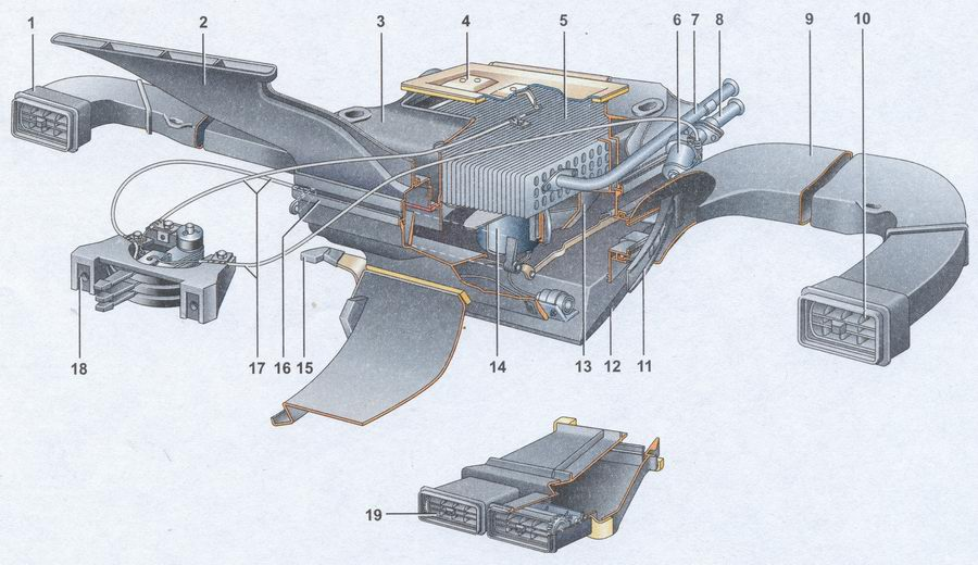 Схема системы радиатор автомобиля ваз 2107 термостат ваз 2107 термостат Схема печки в разрезе ваз 2107 gt...