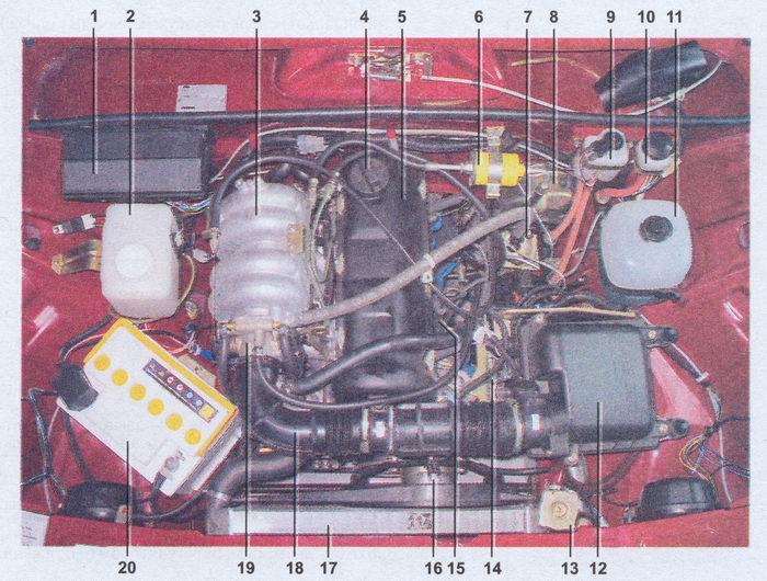 подкапотное пространство автомобиля ваз 2107 с двигателем инжектор