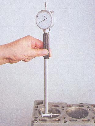 замер внутреннего диаметра цилиндр нутромером