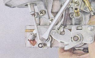 стопорная шайба - тяга пневмопривода дроссельной заслонки карбюратора ваз 2107