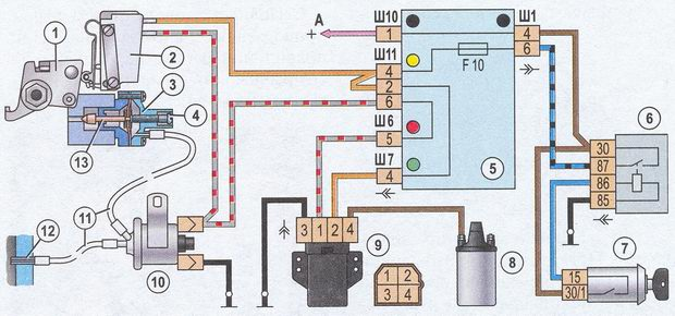 Система холостого... схема блока экономайзера принудительного холостого хода (эпхх) ваз 2107: 1 - рычаг привода...