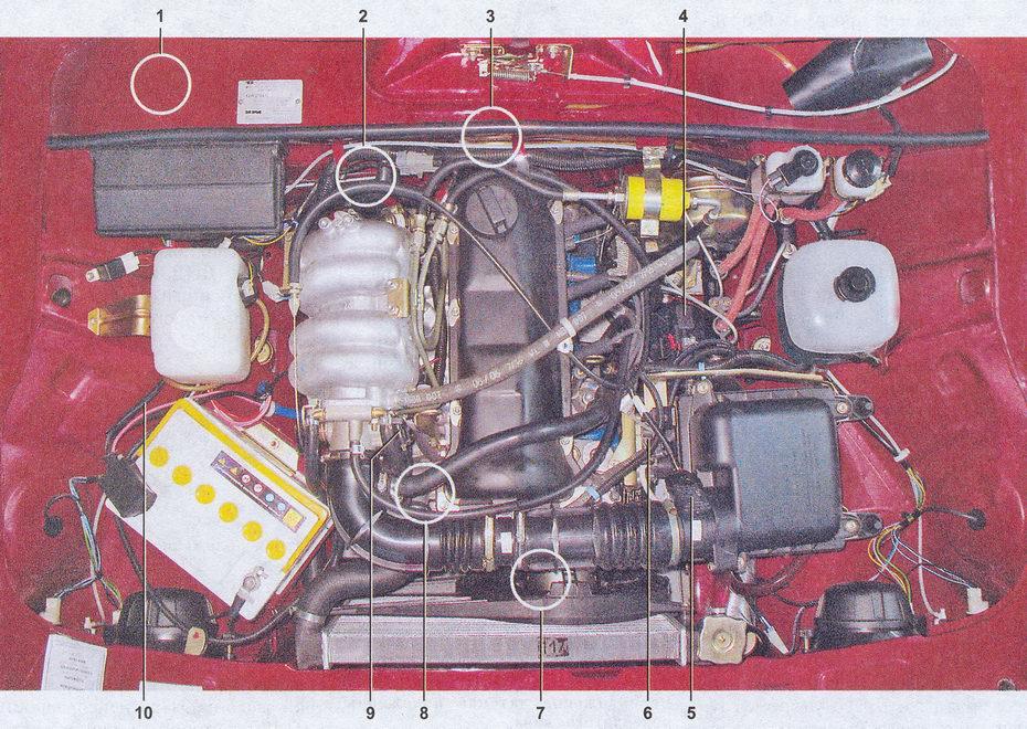 расположение элементов системы управления двигателем ваз 2107