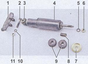 детали крепления амортизатора передней подвески ваз 2107