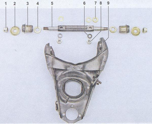 детали нижнего рычага передней подвески ваз 2107
