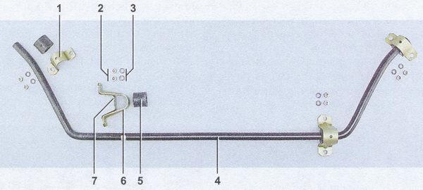 детали стабилизатора поперечной устойчивости ваз 2107