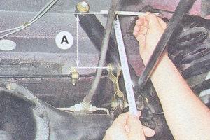расстояние от конца рычага регулятора давления тормозов до горизонтальной площадки лонжерона кузова ваз 2107
