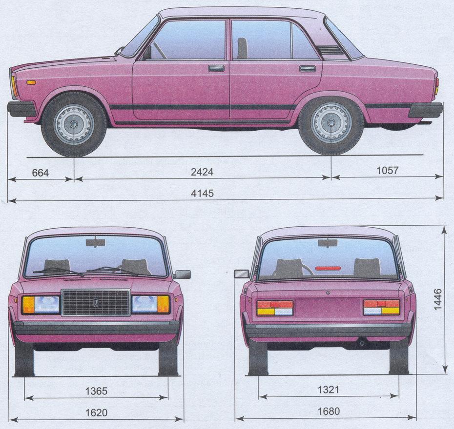 размеры автомобиля ваз 2107
