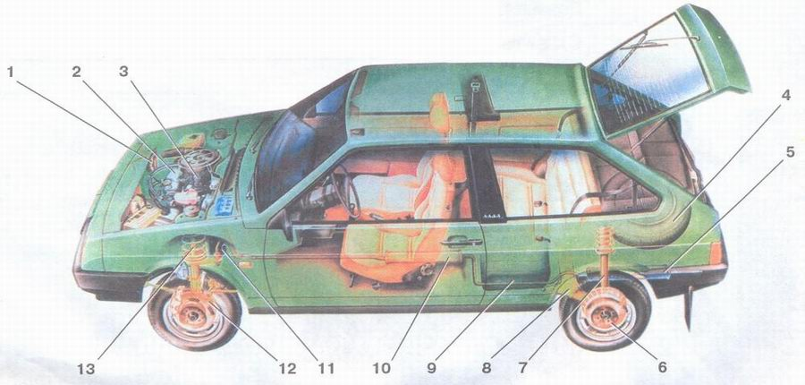 компоновочная схема автомобиля ваз 2108