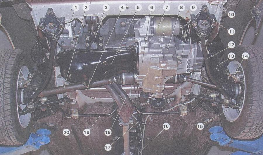 вид передней части автомобиля снизу (защита двигателя снята)
