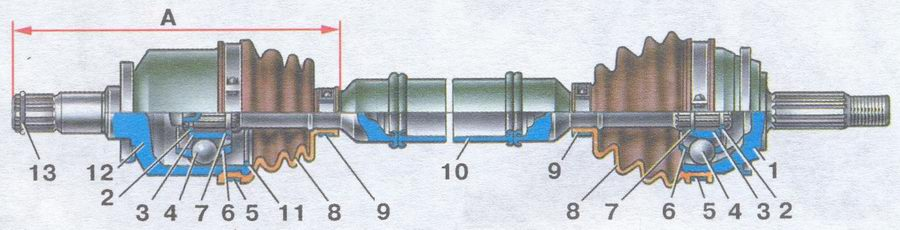 привод переднего колеса автомобилей ваз 2108, ваз 2109, ваз 21099
