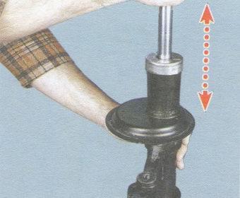проверка исправности амортизатора передней стойки ваз 2108, - 2109, -21099