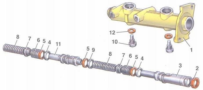детали главного тормозного цилиндра автомобилей ваз 2108, ваз 2109, ваз 21099