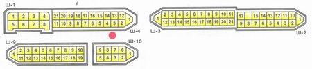 Условная нумерация штекеров в колодках монтажного блока для подключения проводов в салоне: Ш9 - колодка...