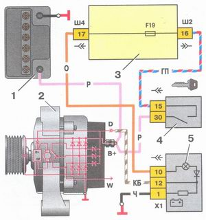 схема соединений системы генератора 94.3701 на автомобиле ваз 2108, ваз 2109, ваз 21099