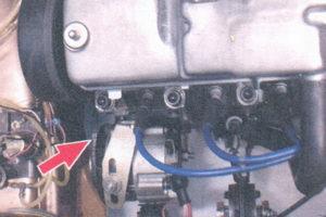 расположение ременя генератора на двигателе автомобиля ваз 2108, ваз 2109, ваз 21099