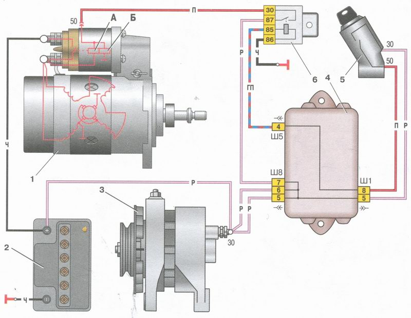Схема включения стартера ваз-2110.