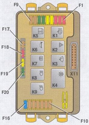 Схема электропроводки ВАЗ-2114 1 - блок фар ваз 2114; 6 - выключатель лампы освещения моторного отсека; подключения к...