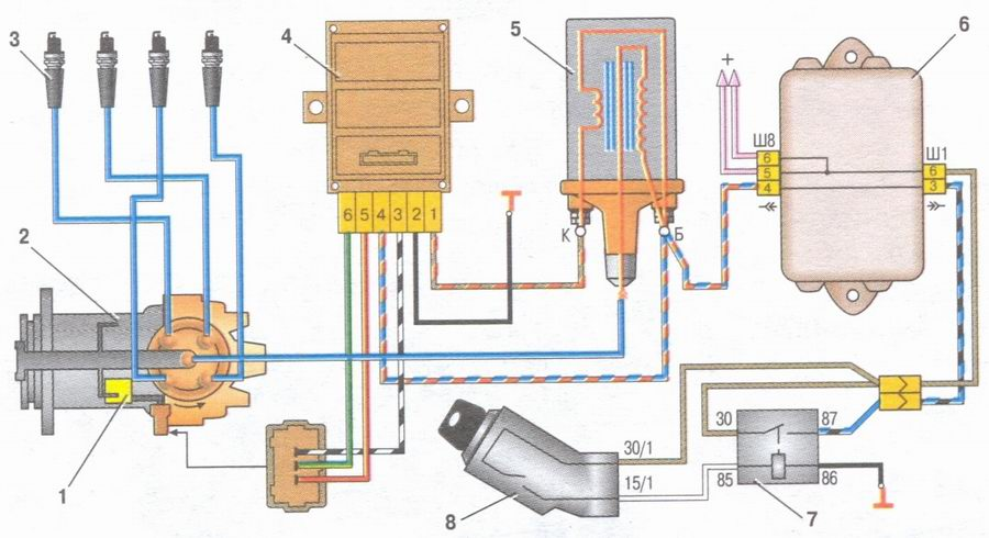 Схема бесконтактной системы зажигания, схема соединений генератора, схема включения электродвигателя вентилятора...