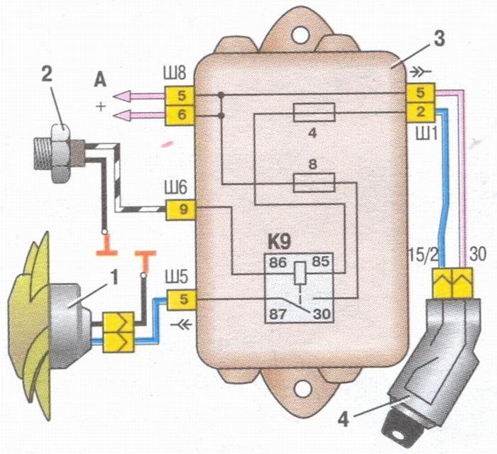 схема включения электродвигателя вентилятора системы охлаждения двигателя на автомобилях ваз 2108, ваз 2109...