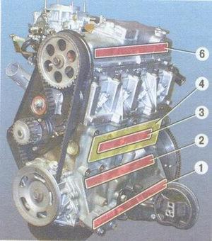 зоны прослушивания стуков в двигателе ваз 2108, ваз 2109, ваз 21099