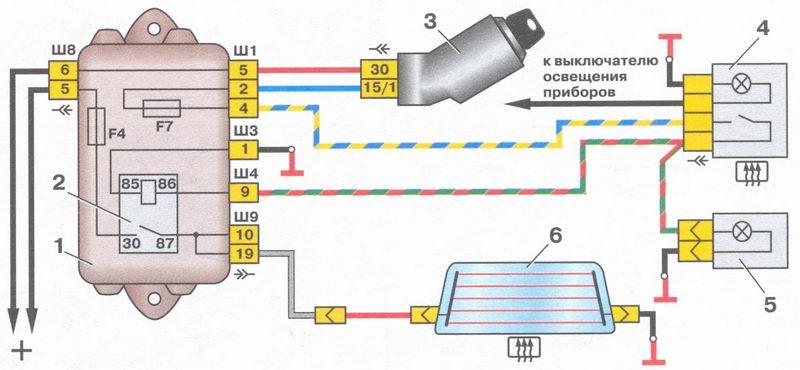 схема системы обогрева заднего стекла на автомобиле ваз 2108, ваз 2109, ваз 21099