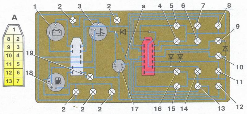 панель приборов «низкой» панели и схема ее соединений (вид сзади) автомобили ваз 2108, ваз 2109, ваз 21099
