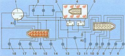 электрическая схема соединений комбинации приборов ваз 2108, ваз 2109, ваз 21099