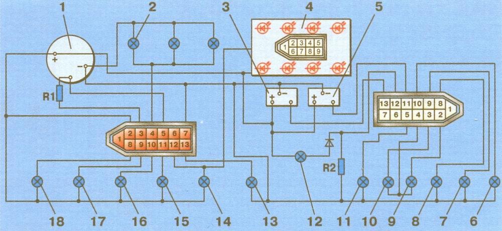 Электрическая схема щитка приборов ваз 21213.