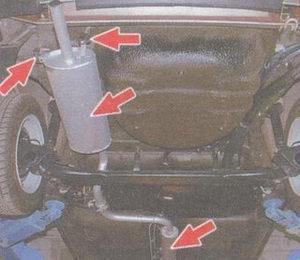 места проверки стуков в системе выпуска отработавших газов