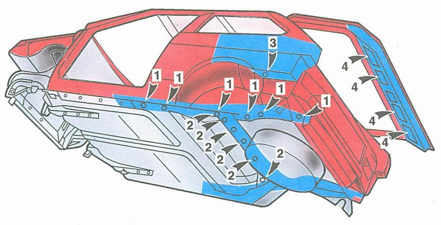 скрытые полости кузова ваз 2108 (вид снизу сзади)