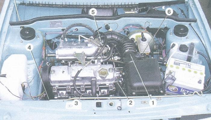 расположение элементов системы управления двигателем в подкапотном пространстве (двигатель мод. ваз 2111)