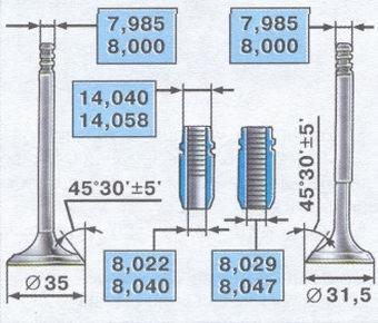 размеры клапанов - размеры направляющих втулок клапанов
