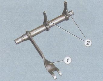 (1) рычаг вилки выключения сцепления - (2) лапки вилки сцепления