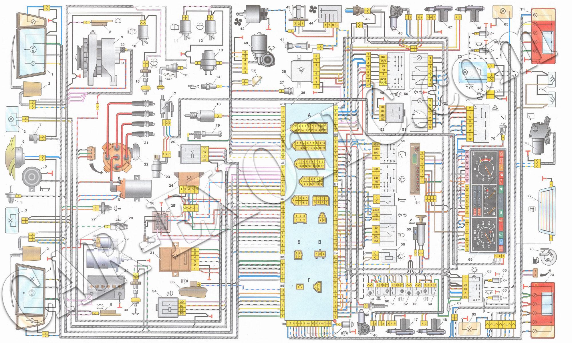 схема подключение электростеклоподъемников 2109